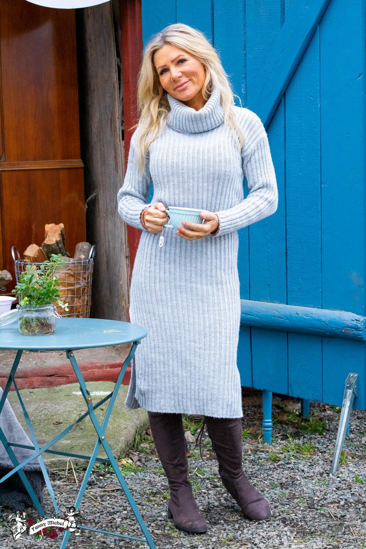 Amelia - Rib knit dress - Light gray