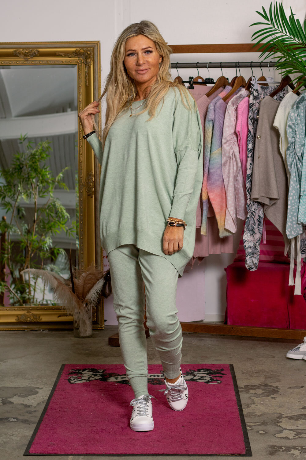Brittany - Knitted set - Sweater and Trousers -Lagoon