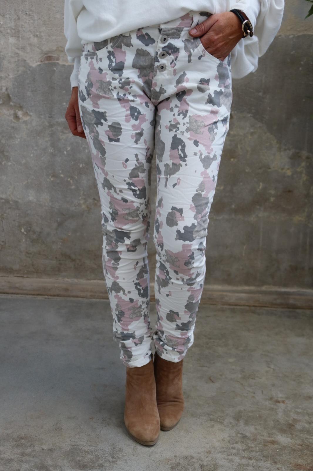 Pants 90089 - Camouflage - Cream/Pink