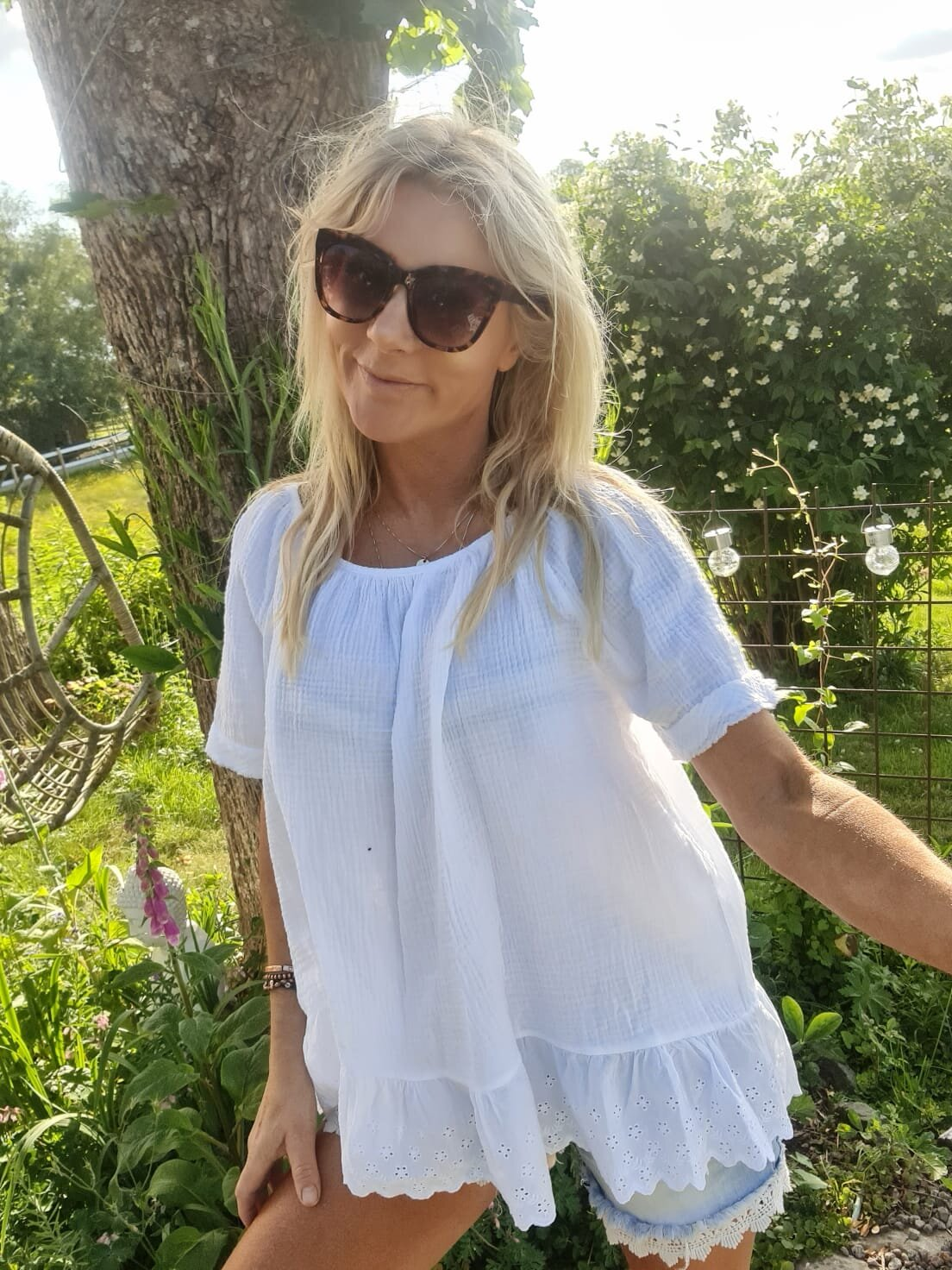 Christa top - Lace & Waffle - White