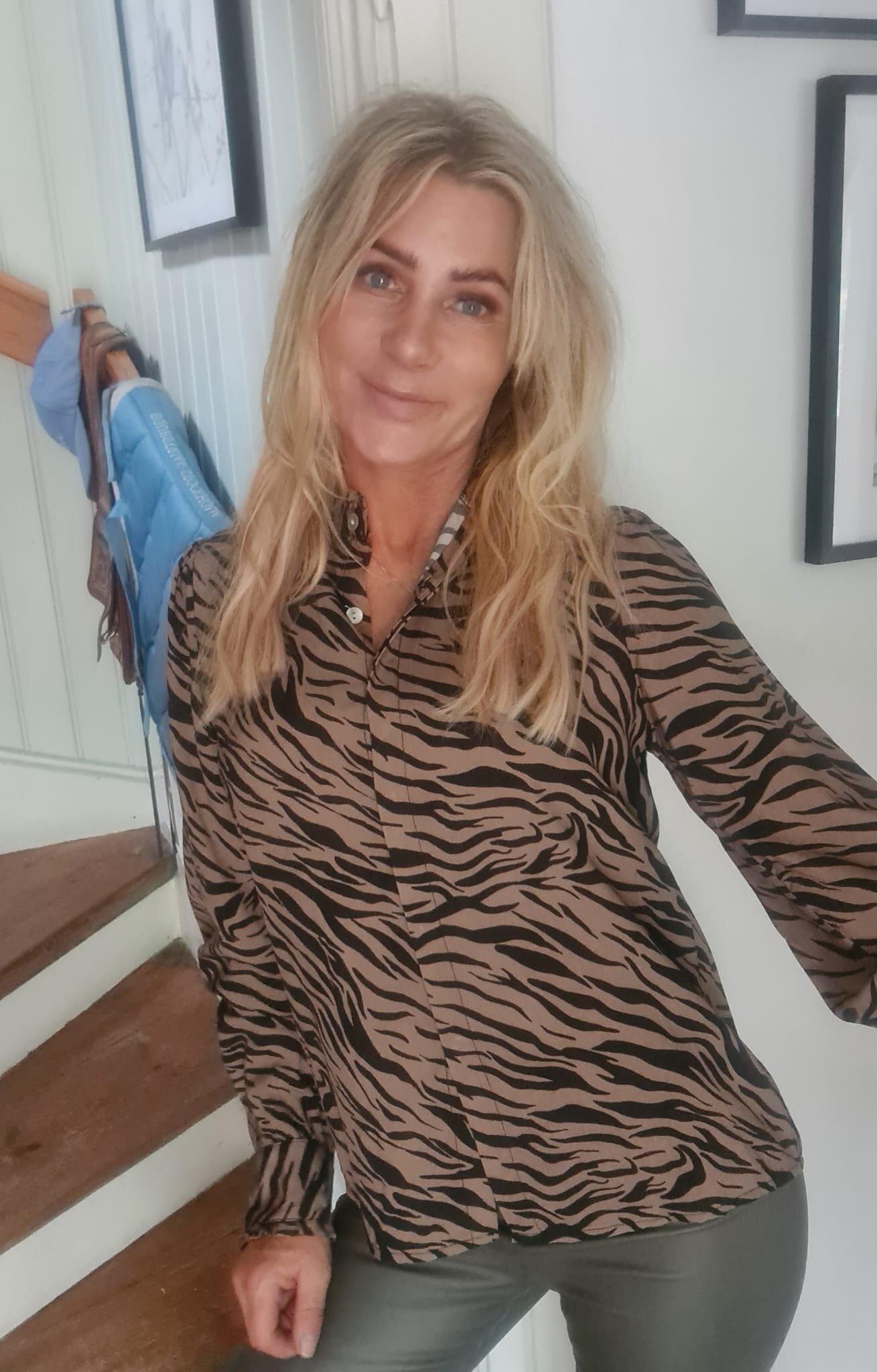 Elaine Blouse - Zebra & Ruffles - Camel