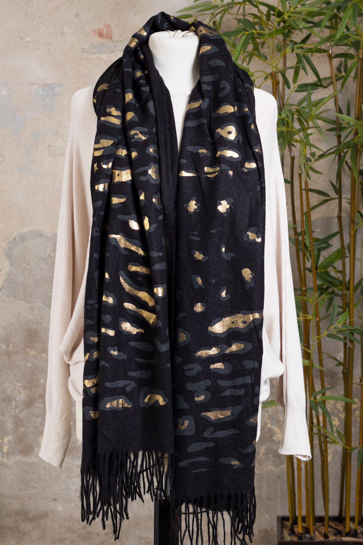 Leopard Patterned Shawl - Black