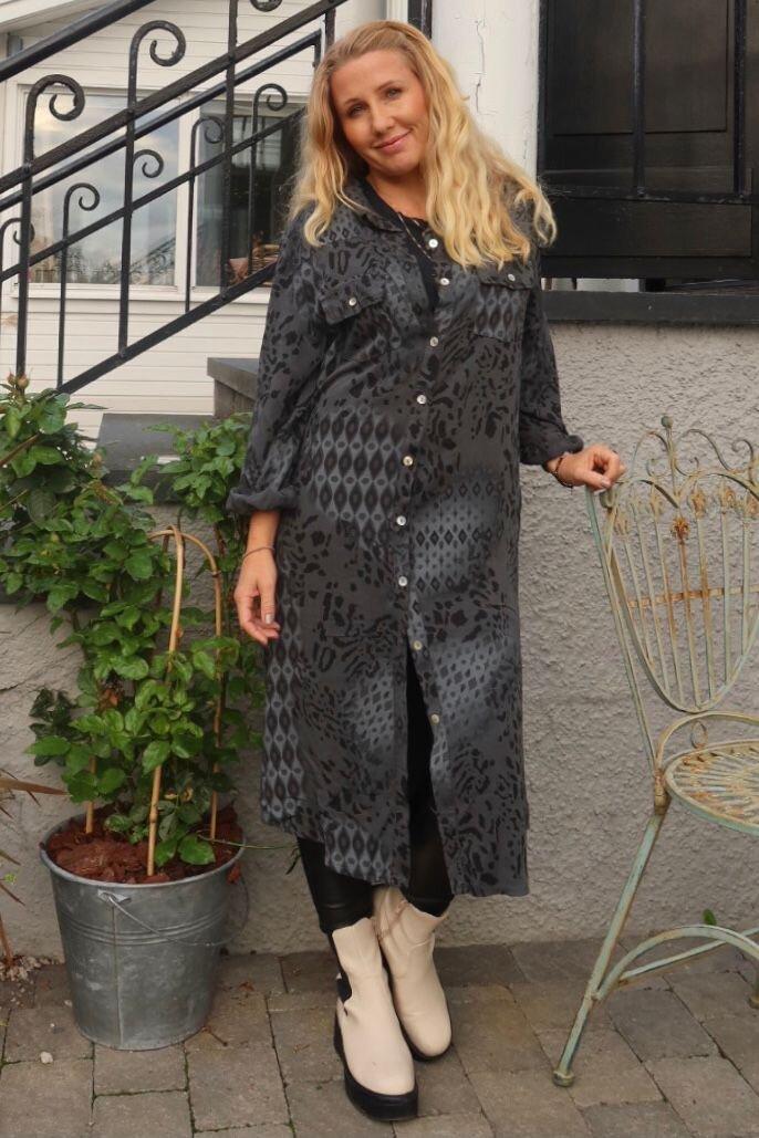 Nadja Long shirt - Patterned - Gray