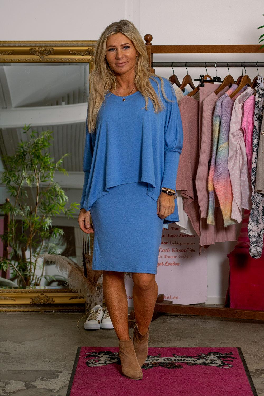 Naomi Fine Knit Dress - Jeans blue