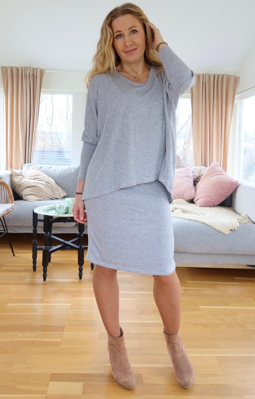 Naomi Fine Knit Dress - Light gray