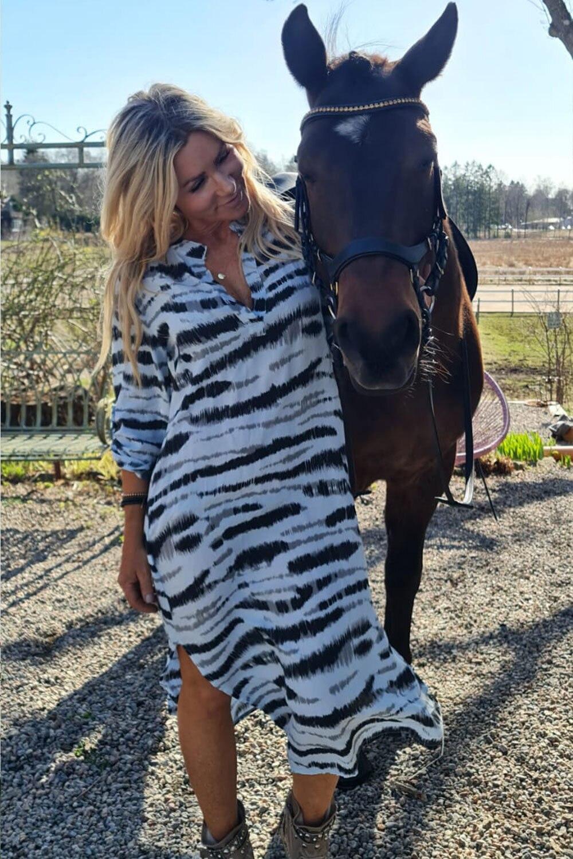 Sandy Long Shirt/Dress - Zebra - Blue