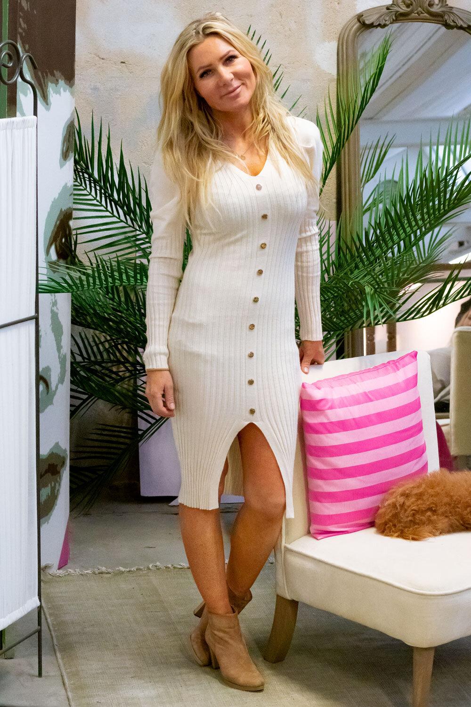 Tamara Knitted dress - Buttons - Cream