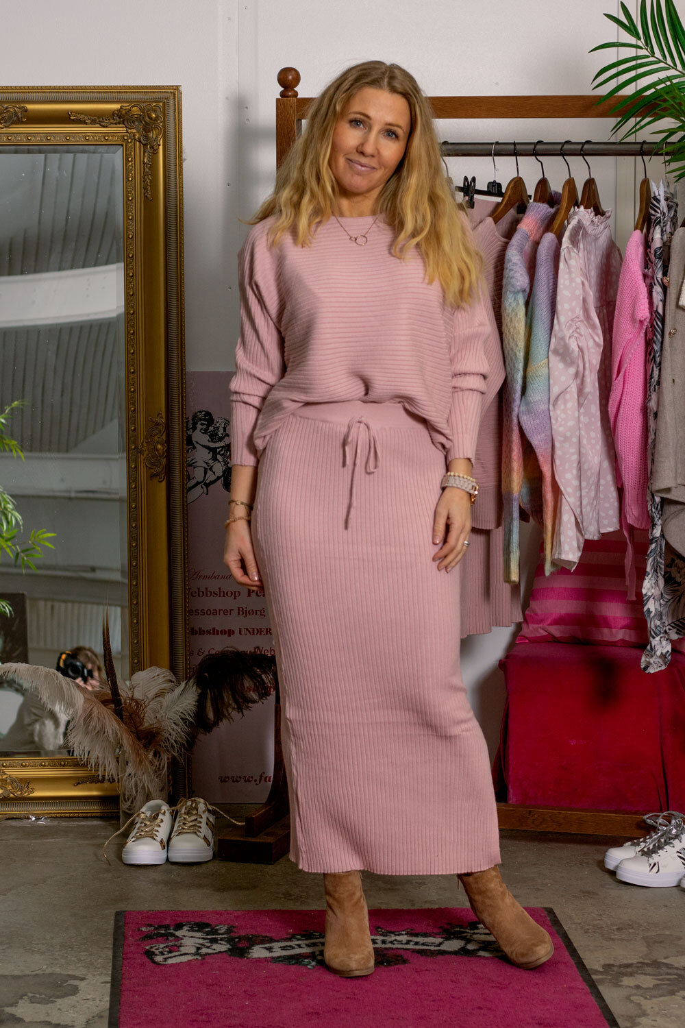 Sweater and Skirt set - Ribbed - Pink