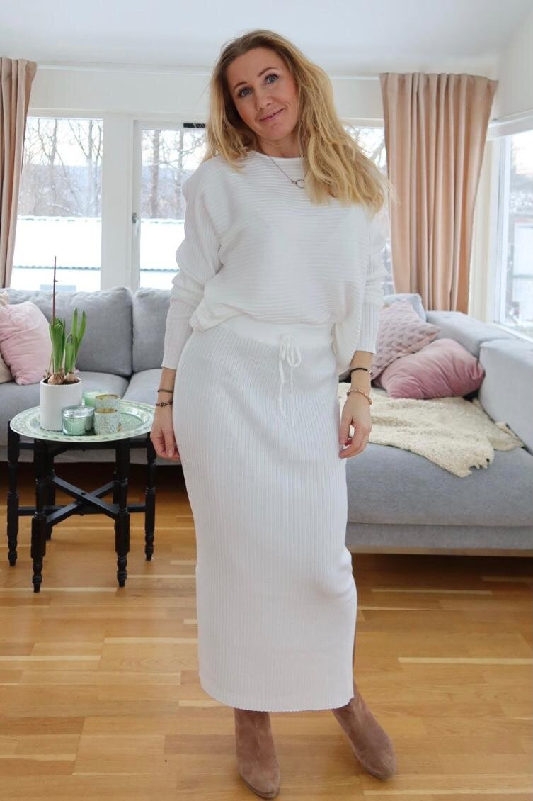 Sweater and Skirt set - Ribbed - Cream